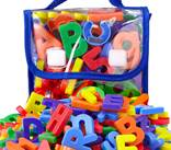 "EduKid Toys 72 Magnetic Letters & Numbers (Tote) 1.25"" - 1.75"" (72 ABC Alphabet Magnet Letter)"